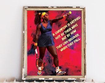 Serena Williams, 8x10, Being Serena HBO, Tennis Legend, Sports Art,  Athlete Gift, Champion Quote, Wimbledon, Inspirational Women