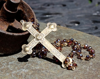 Vintage Brass Cross Necklace