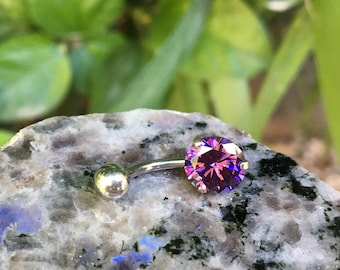 Belly Button Ring, Belly Ring, Belly Piercing, Body Jewelry, Body Piercing, Navel Piercing, Navel Ring, Purple Crystal