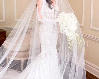 Long Blusher Sheer Drop Wedding Veil (Cathedral Veil, Illusion Veil, Drape Veil, Long Veil, Kim Kardashian veil, Meghan Markle veil)