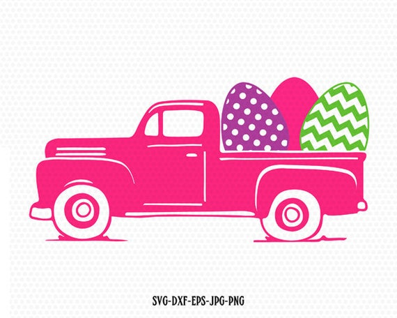 Easter Vintage Truck Svg Old Cutting File Eggs CriCut Files Frame Jpg Png Dxf Silhouette Cameo From