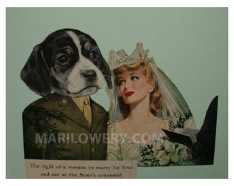 One of a Kind Paper Collage, Beagle Art, Dog Wedding, 11 x 8.5 Inch Collage Art, Anthropomorphic Retro Art, Bride and Groom