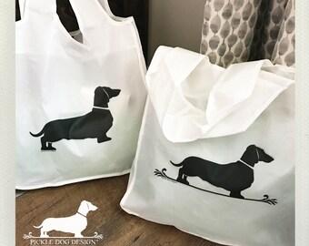 Doxie Fleur De Lis. Tote Bag -- (Reusable, Shopping Bag, Bag, Dog Bag, Dog, Dachshund, Vintage-Style, Weiner Dog, Eco Chic, Birthday Gift)