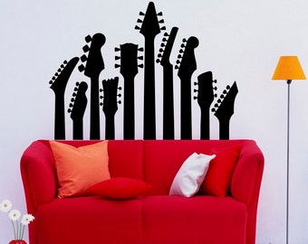 Guitar Neck Wall Decal Wall Vinyl Sticker Musical Instrument Home Interior Removable Bedroom Decor (19gtr)