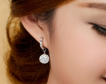 Silver Plated drop Crystal Women Earrings Long Fashion Earrings