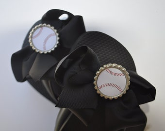 Interchangeable baseball flip flop bows You CHOOSE bow color baseball party idea party favor, baseball mom, baseball gifts. baseball shoes