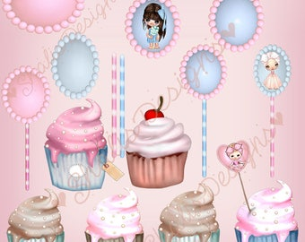 CUPCAKE Clip Art:  Clipart Vector Art File, Instant Download, Cupcake Theme Digital Istant Download Shabby Chic