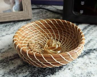 Ivory Trinket Basket Ivory Pine Needle Coiled Trinket Basket Native America Basket For Him Basket For Her Home Decor Basket Ivory Basket