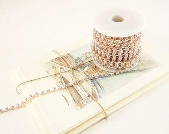 Rose Gold Rhinestone Chain, Clear Crystal, Crystal Trim (4mm / 1 Foot Qty)
