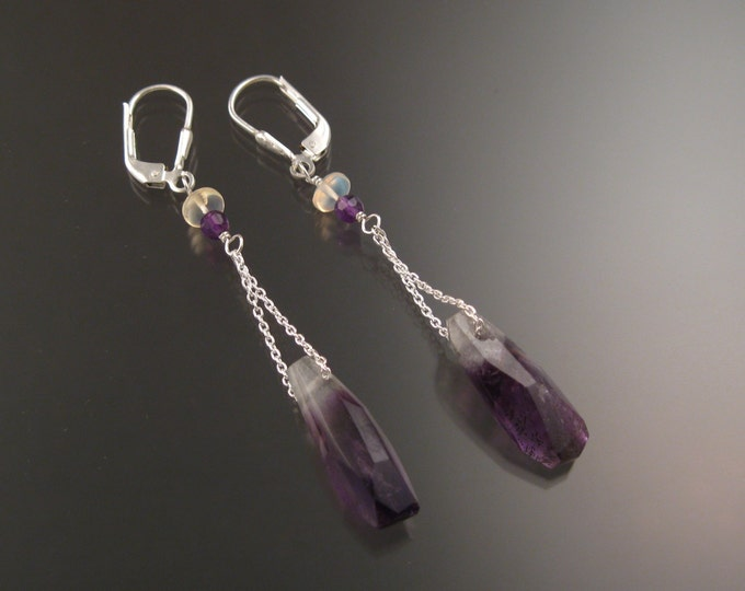 Natural Polished Amethyst Crystal, Opal and Amethyst earrings Sterling Silver handcrafted long dangle earrings