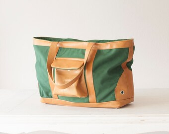 CLEARANCE - Market shoulder bag in green and brown, tote canvas purse cotton large bag, zipper bag - Dione Bag