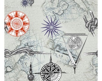 Map fabric Nautical fabric, ship fabric,  Quarter Deck fabric Free domestic Shipping over 50