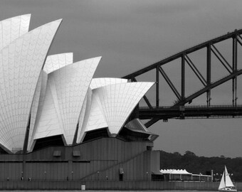 Sydney Opera House | Harbour Bridge - Black & White Fine Art Photography Print - Cloudy skies, sail boat, iconic building Home/Office Decor