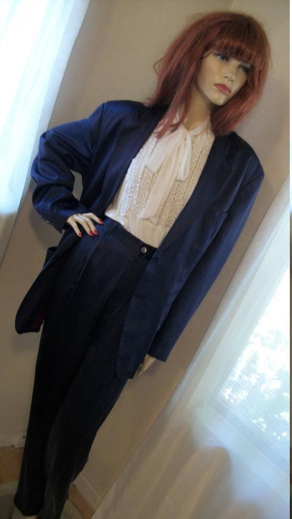 1930s Style Vintage Mens Navy Silk Pantsuit Jacket Size 40 Pants Size 33 Gangster Rockabilly Hipster Ns1k0a9gr