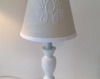 Monogram lampshade etsy linen slub monogrammed lamp shade other colors available for monogram and trim mozeypictures Image collections