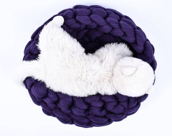 Chunky Cat Bed, Chunky Knit Pet bed, Pet cave, Pet Bedding, Merino Wool Cat bed, arm knit, knit house, Cat cave, Pet house,  by woolexperts
