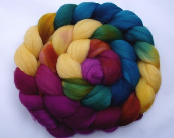 130g (14.62 Euro/100g) 4.6oz hand dyed wool roving, merino felting wool, spinning fiber, combed top, teal,purple, yellow, green, 100% wool