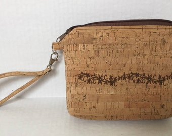 Cork Wristlet, Cork Purse, Cork Coin Purse, Small Cork Purse, Brown Orange Cork Zipper Bag, Embroidered Cork Bag