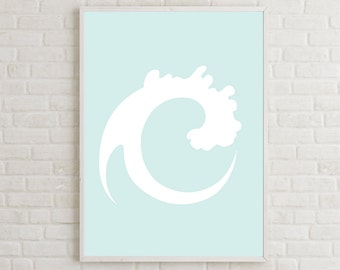 Printable Wave Art Print, Minimalist Poster, Abstract Coastal Art, Wave Art Decor, Wave Print, Coastal Printable, Coastal Decor Print