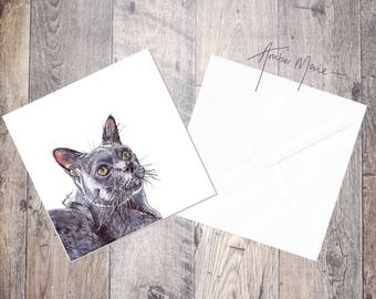 Cat Greeting Card - Grey Russian Blue