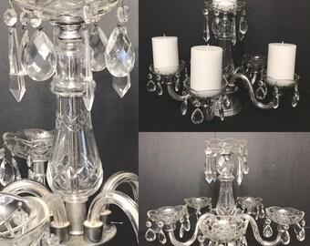 Antique Crystal Prism Chandelier Candelabra 6 Arm Pillar Candle Holder Wedding Decor