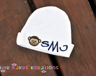 Monkey Baby Beanie Hat Personalized with Any Name