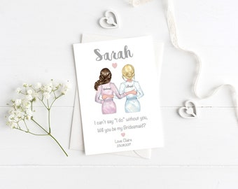 Will you be my Bridesmaid/Maid of Honour card V1 - changeable hairstyles - Personalised