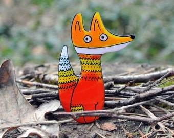 Foxy brooch, handmade brooch, fox pin, gift for her, for foxy lovers