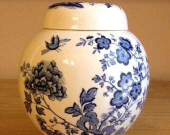 Blue Willow Ginger Jar Blue And White Ginger Jar English Ironstone Jar English China Jar Masons Ironstone Blue Flower Ginger Jar Delft Blue
