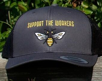 SUPPORT THE WORKERS  Honeybee Trucker Hat in Grey & Black