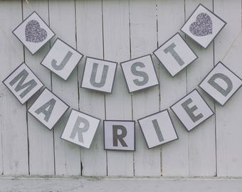 Just married banner, wedding banner, bnner, party decorations, wedding