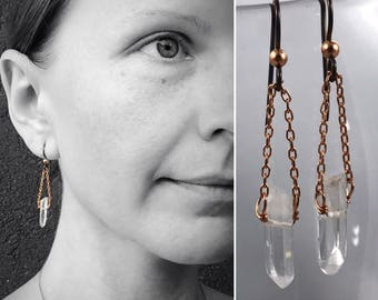 Quartz Crystal Point Earrings - Copper and Polished Quartz Points - Hypoallergenic Niobium Hooks