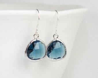 Navy Blue Silver Earrings, Navy Silver Earrings, Blue Silver Earrings, Bridesmaid Earrings, Bridesmaid Gift, Wedding Jewelry