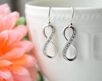 Zircon Infinite earrings, Bridesmaid gift, Everyday earrings, Wedding earrings, Bridesmaid gift