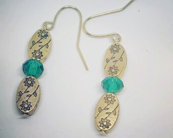 Emerald Crystal Gold Floral Earrings