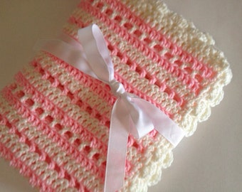 Crochet baby blanket light pink cream striped blanket photo prop