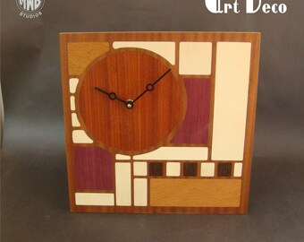 Wall Clock Art Deco Styled. WC-13 Free Engraving, Free Shipping within the U.S.