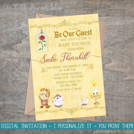 Beauty Belle Beast Baby Shower Printable Invitation Be Our