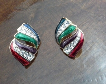 SWAROVSKI Signed Swan Crystal with Blue Green Purple & Red Enamel on Gold Earrings Pierced Ears Vintage