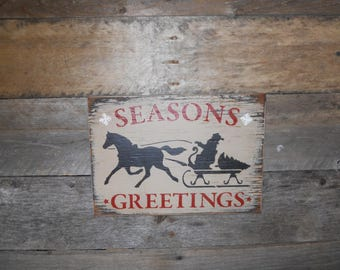 Seasons Greeting Primitive Christmas Wood Sign