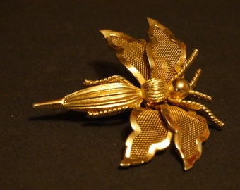 Vintage Coro Brooch Pin Gold/Silver tone Dragon Fly Insect