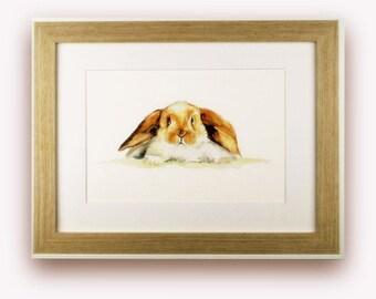 Rabbit art/Brown rabbit watercolour giclee print/A4/A3/nursery decor/bunny rabbit print.
