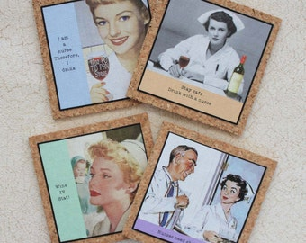 Nurse Coasters Set With Funny Sassy Sayings on Cork