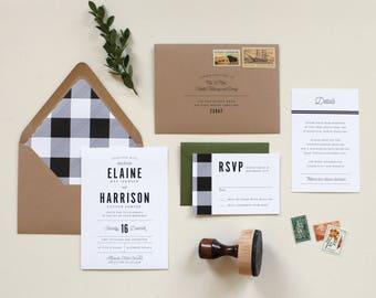Flannel Wedding Invitation | Modern Rustic Wedding Invitation, Winter Wedding Invite, Gingham Wedding Invite, Plaid Wedding Invite