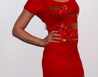 """model # m83 women's red dress """"tatoo"""",sizes-S,M,L"""