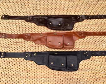 Leather Utility Belt / Hip Bag / Fanny Pack /iPhone Wallet / Passport Holder / Pocket Belt  - The Explorer