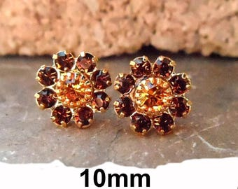 Smoked Topaz & Topaz Gold Cluster 10mm Rhinestone Stud Earrings
