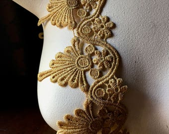 Gold Lace Trim Metallic Venise Style for Lyrical Dance, Ballet, Crowns, Costumes, Bridal, Jewelry Design GL 17