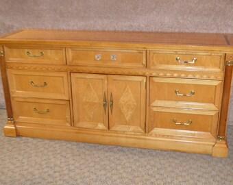 Vintage Stanley Inlaid Biedermeier Style Triple Dresser