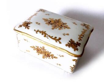 Signed Limoges BARAT Box, Gold Roses Limoges Trinket Box, Gold Rose Box, Gilt Gold Floral Limoges Signed Box, Rectangular Limoges Box